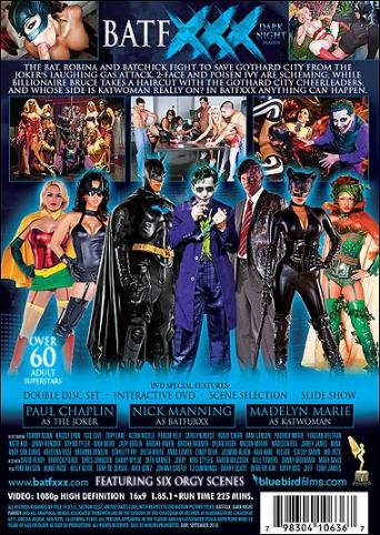BatfXXX Dark Night Parody from Bluebird Films back cover