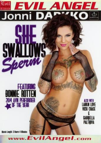 She Swallows Sperm from Evil Angel: Jonni Darkko front cover